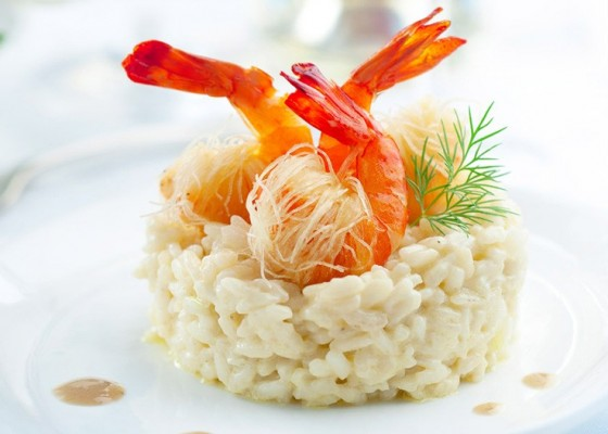 <h3 class='prettyPhoto-title'>Tangy risotto</h3><br/>Risotto tangy, crispy shrimp and crabs cream